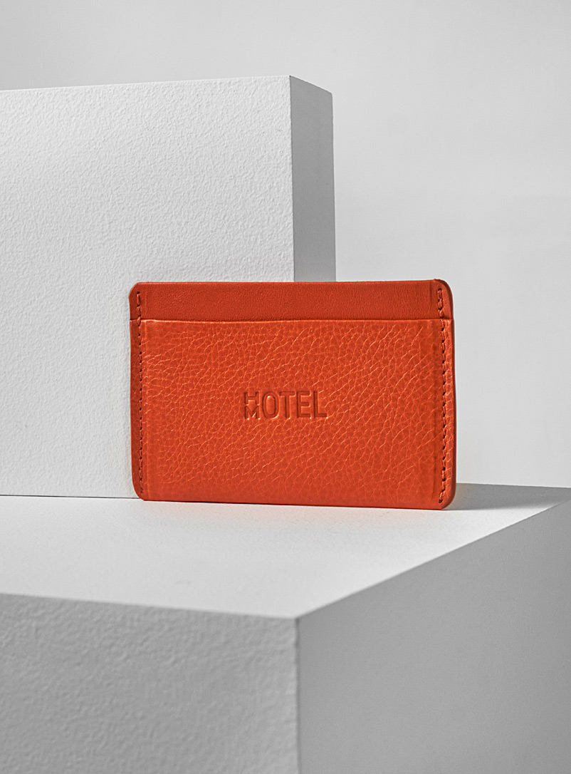 Minimalist leather card holder - HOTELMOTEL - Orange