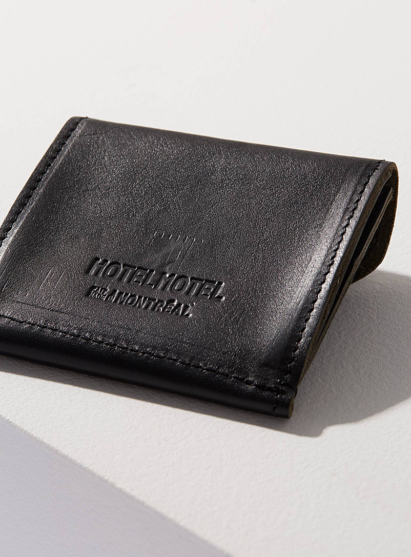 Leather envelope wallet - HOTELMOTEL - Black