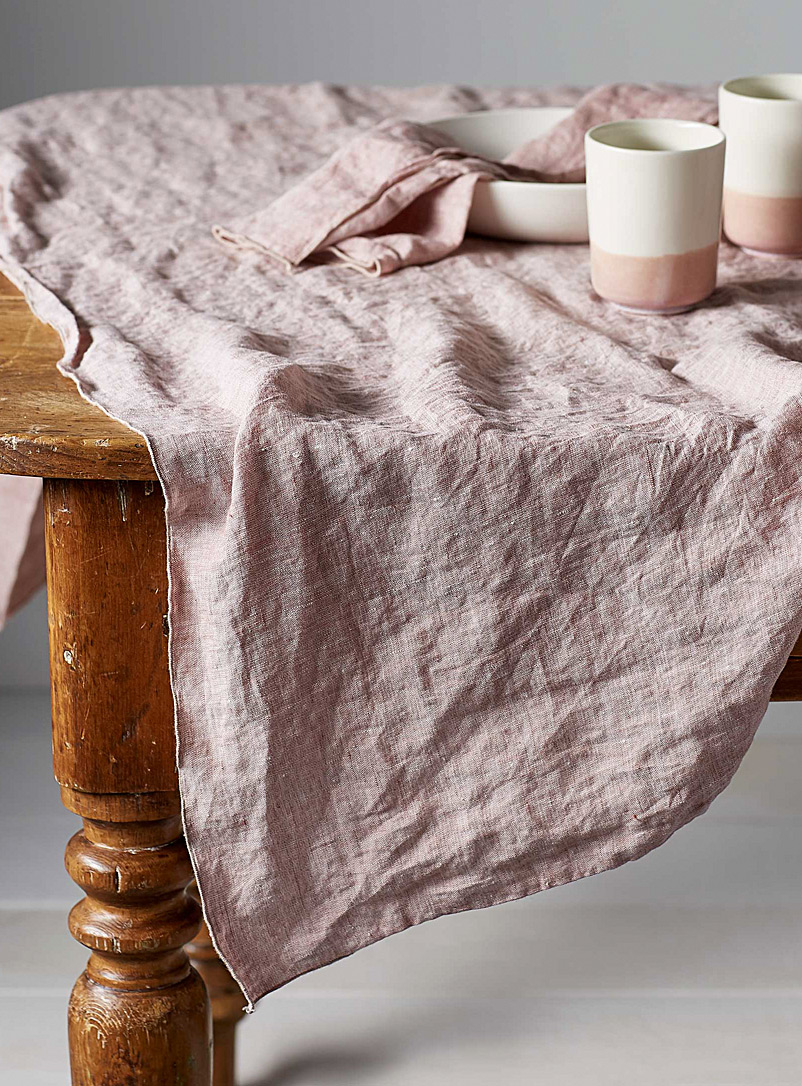 Chambray linen tablecloth - Objective - Pink