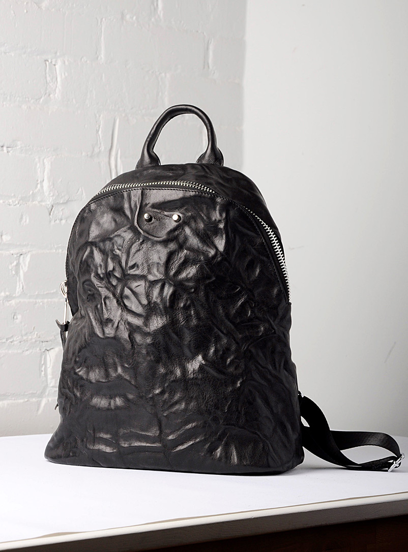 Uppdoo Black Journey large crinkled leather backpack