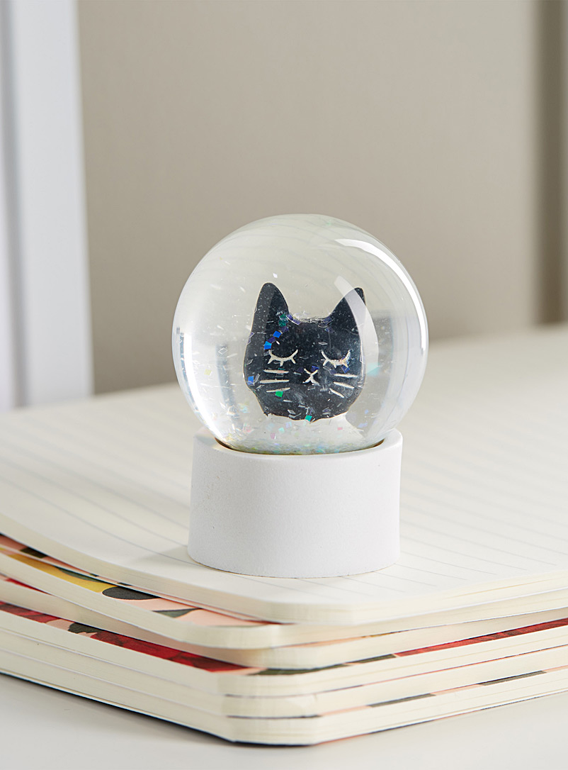 Black cat small water globe - Stylish Objects & Decor Accents - Black and White