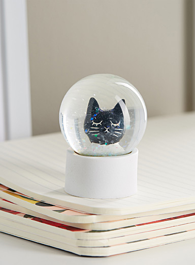 Black cat small water globe