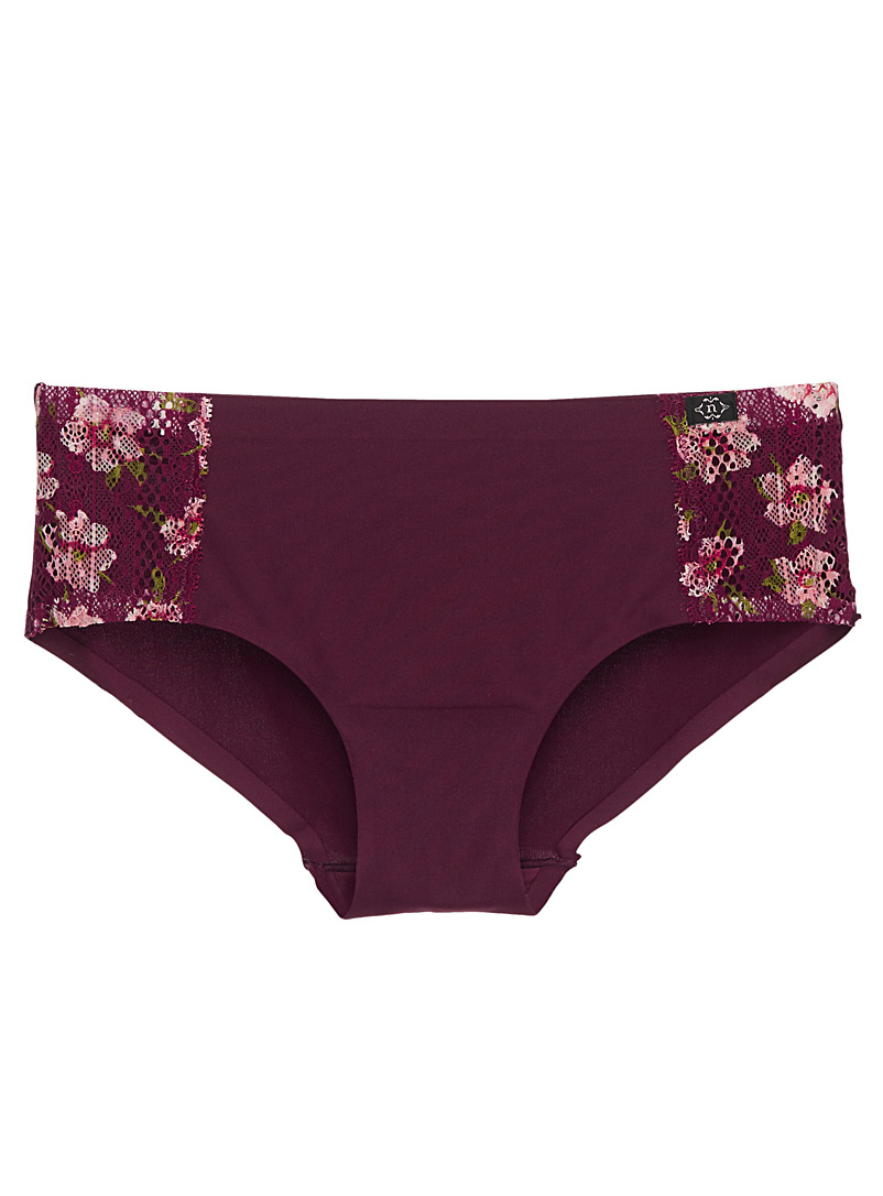 Lace-accent laser-cut boyshort - Hipsters - Ruby Red