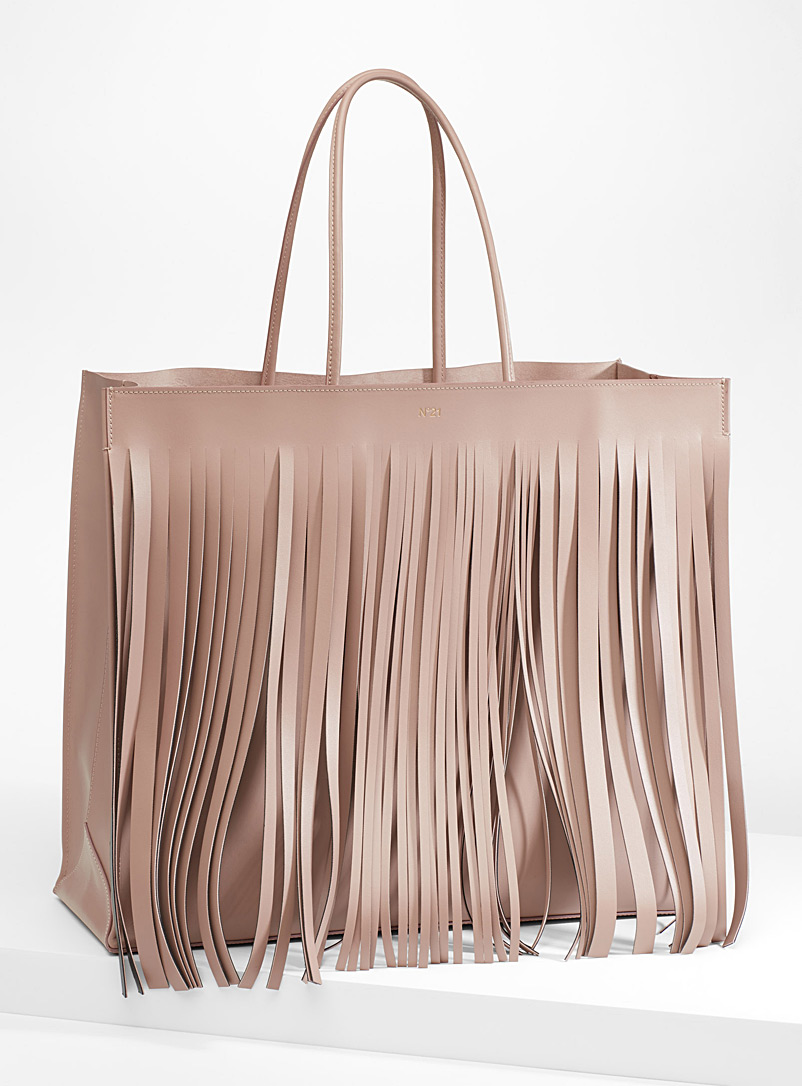 Fringed tote - No. 21 - Peach