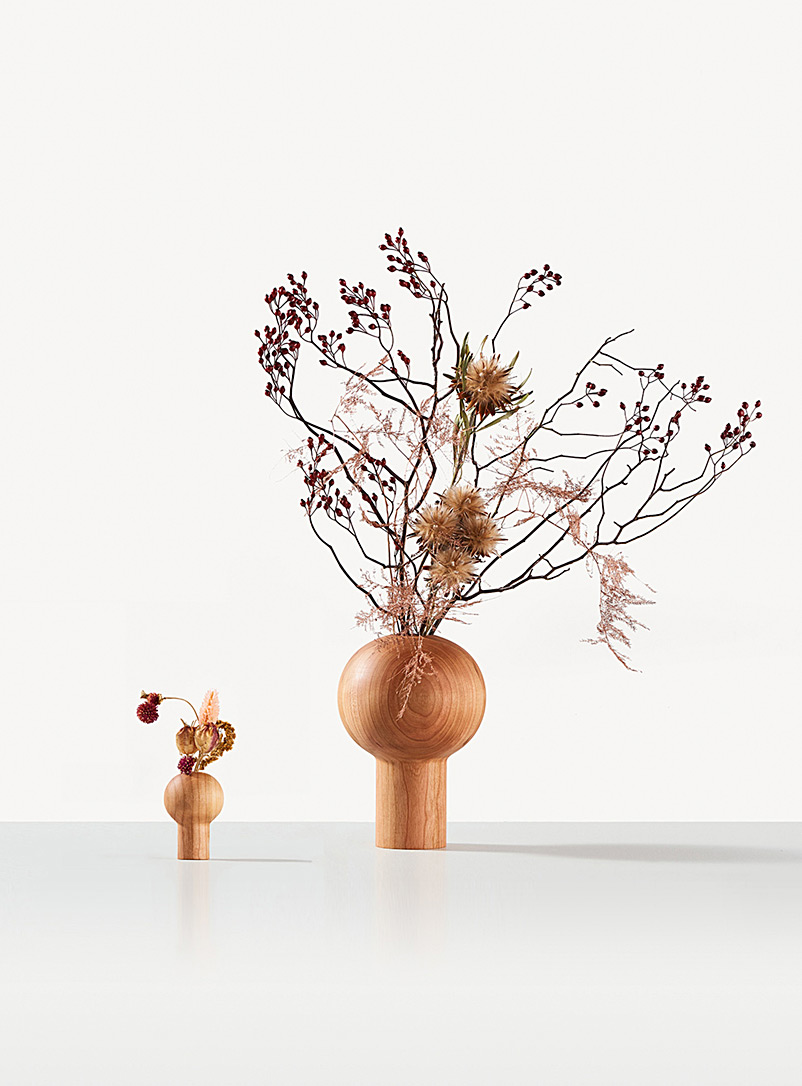 Coolican & Company Medium Brown Dora sculpted wooden vase 3 sizes available