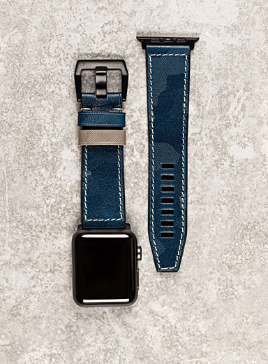Diametris Black Major blue camouflage leather Apple Watch band