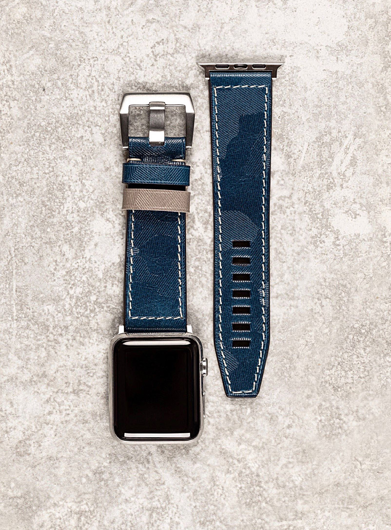 Major blue camouflage leather Apple Watch band