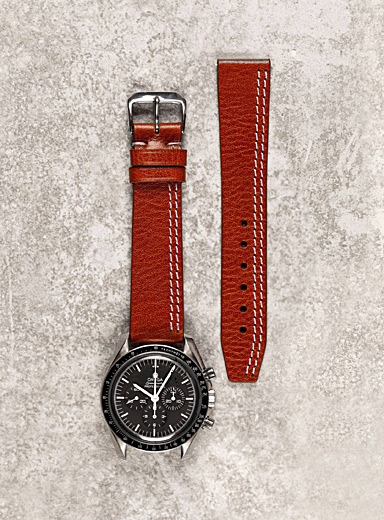Diametris Red White double-stitched mahogany vegetable leather band