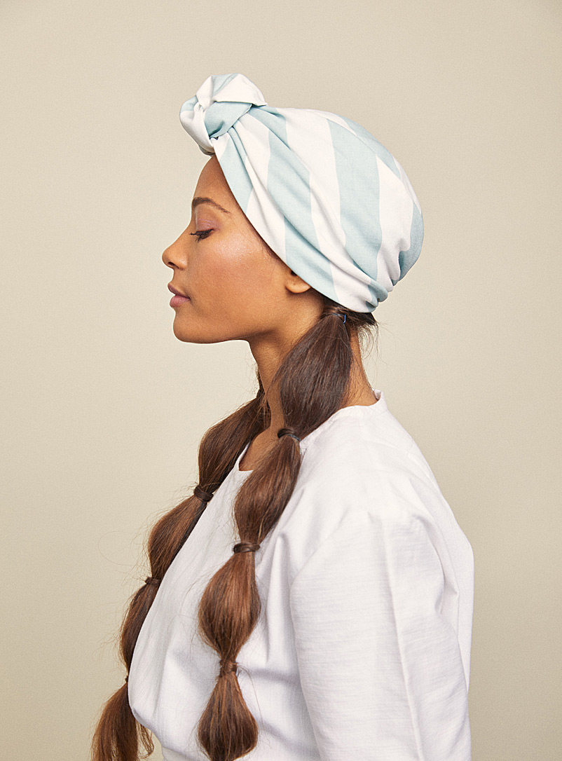 Heirloom Baby Blue Riviera stripe Parelli turban hat