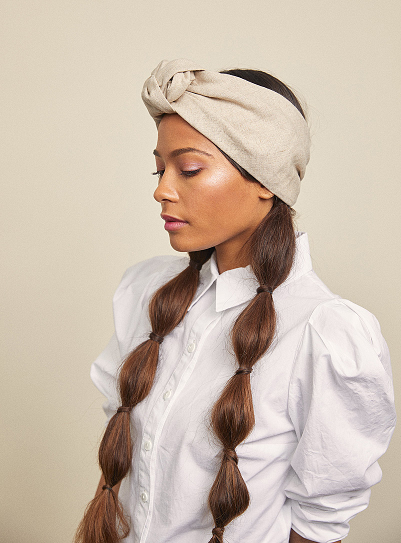 Linen Elsa turban headband - Heirloom - Ecru/Linen