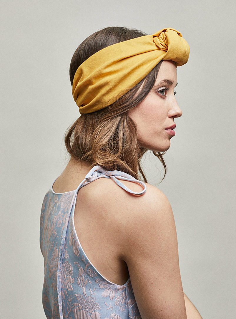 Linen Elsa turban headband - Heirloom - Golden Yellow
