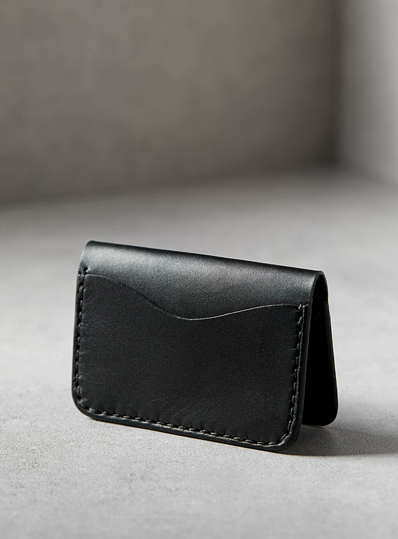 La Compagnie Robinson Black Three-pocket card holder