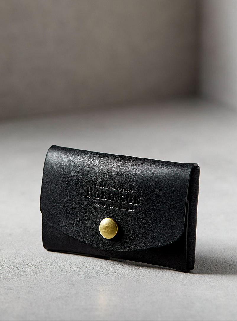 Minimalist leather card holder - La Compagnie Robinson - Black