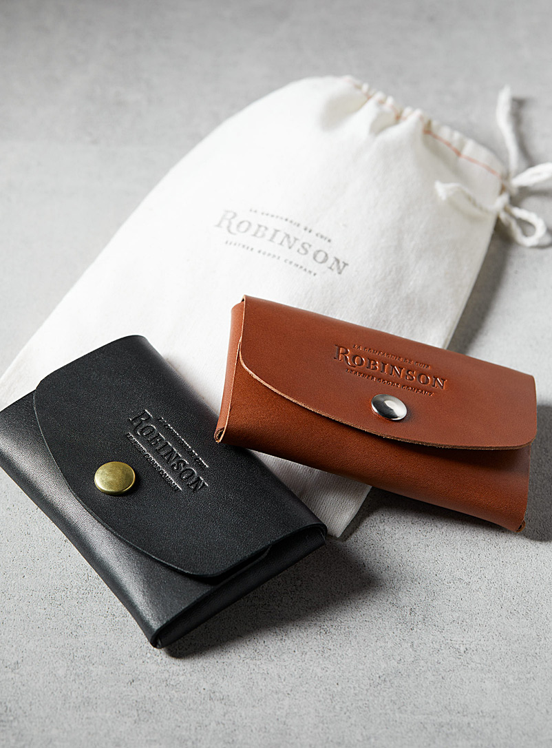 La Compagnie Robinson Brown Minimalist leather card holder