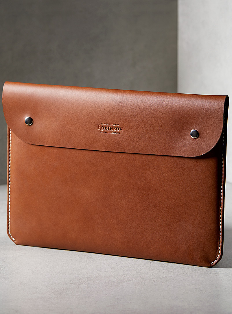 Leather computer case - La Compagnie Robinson - Brown