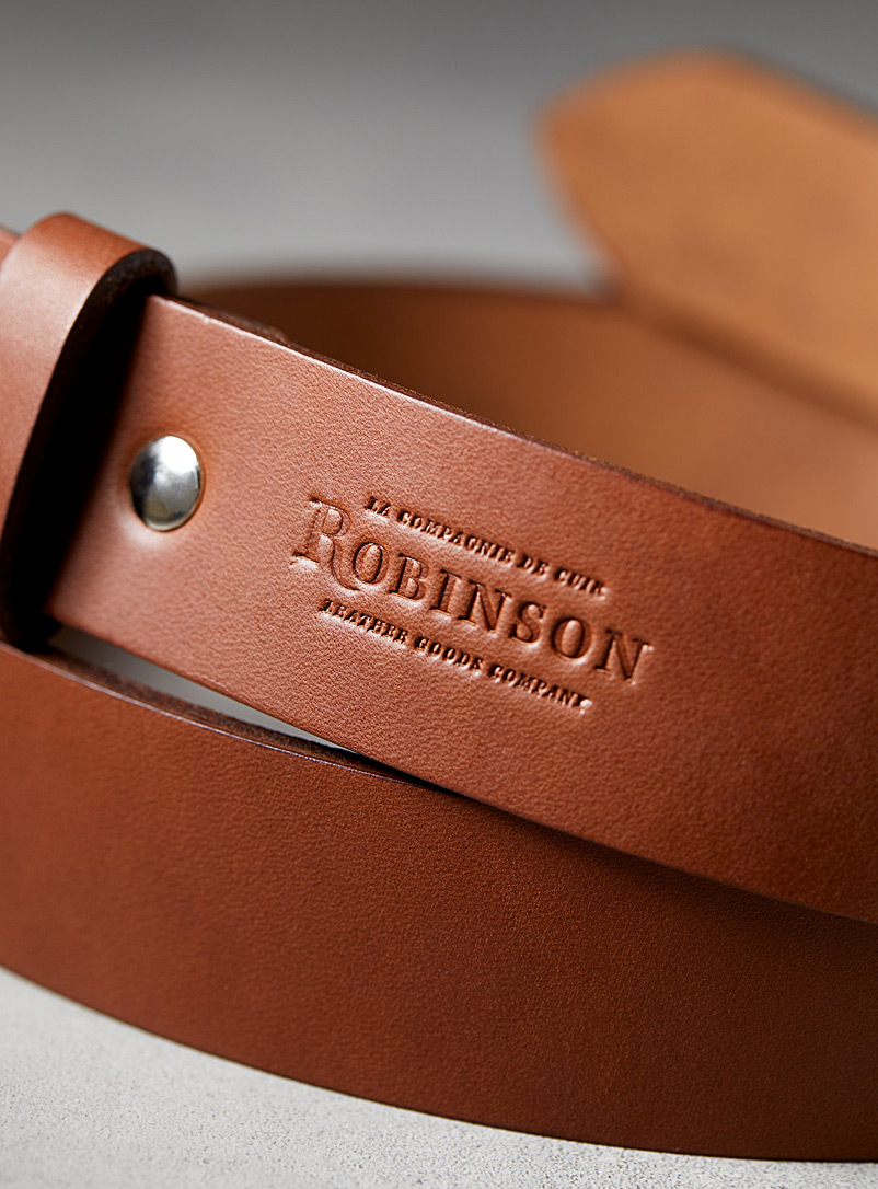 Rugged leather belt - La Compagnie Robinson - Brown