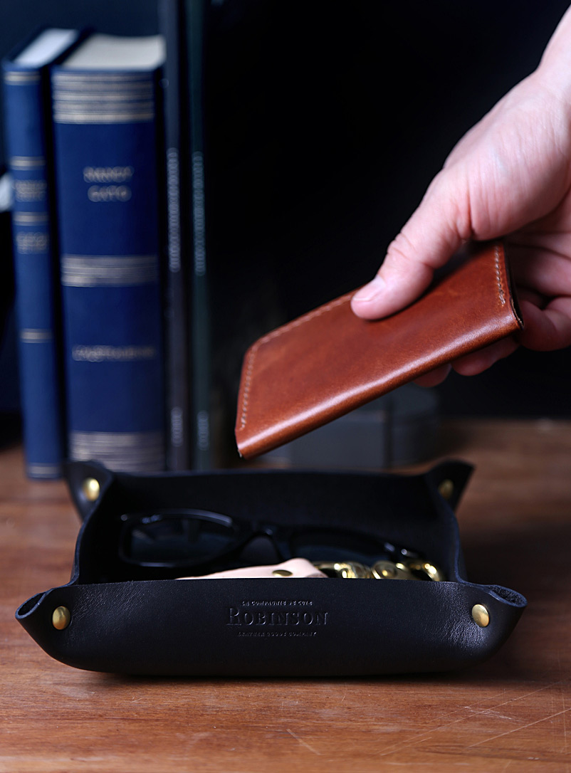 La Compagnie Robinson Black Minimalist leather valet tray