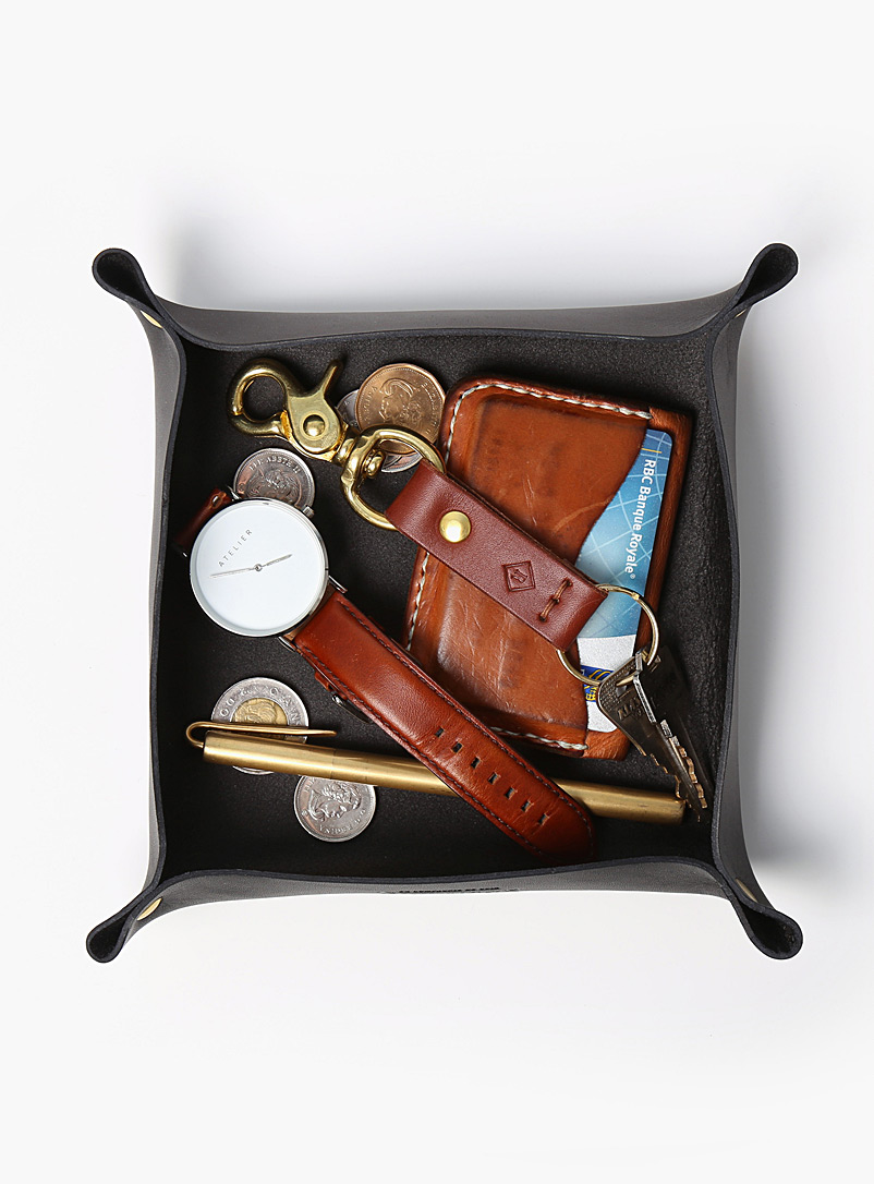 La Compagnie Robinson Brown Minimalist leather valet tray