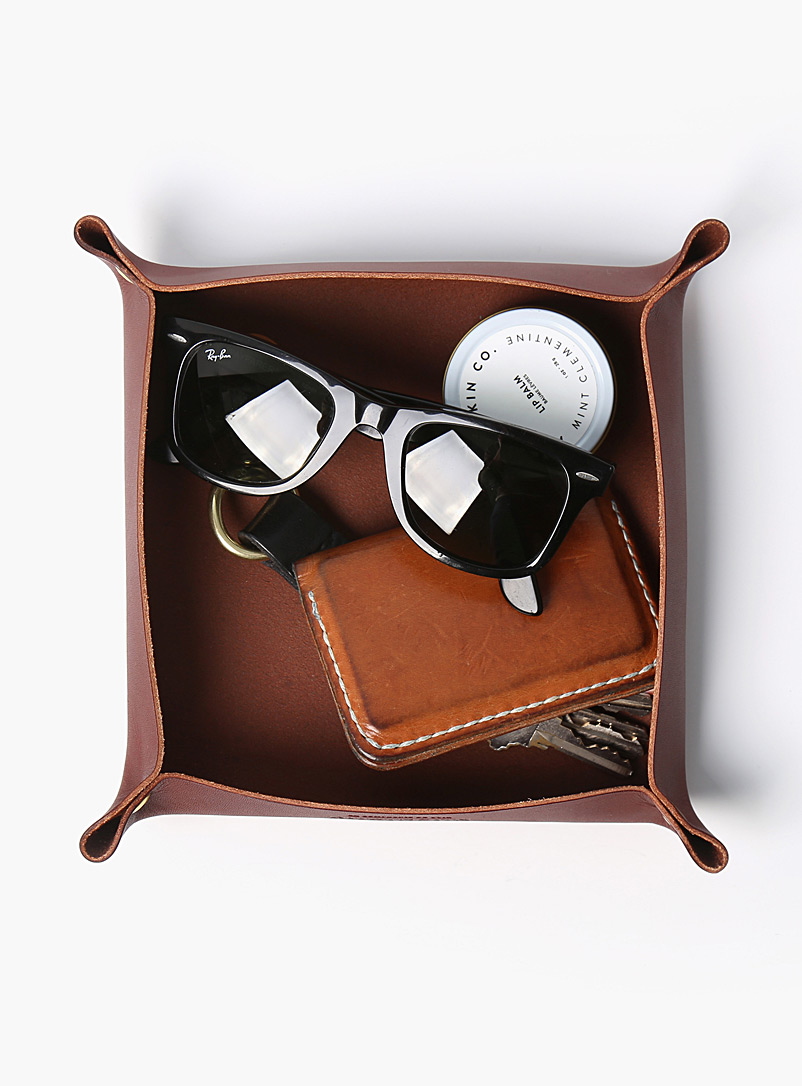 Minimalist leather valet tray - La Compagnie Robinson - Brown