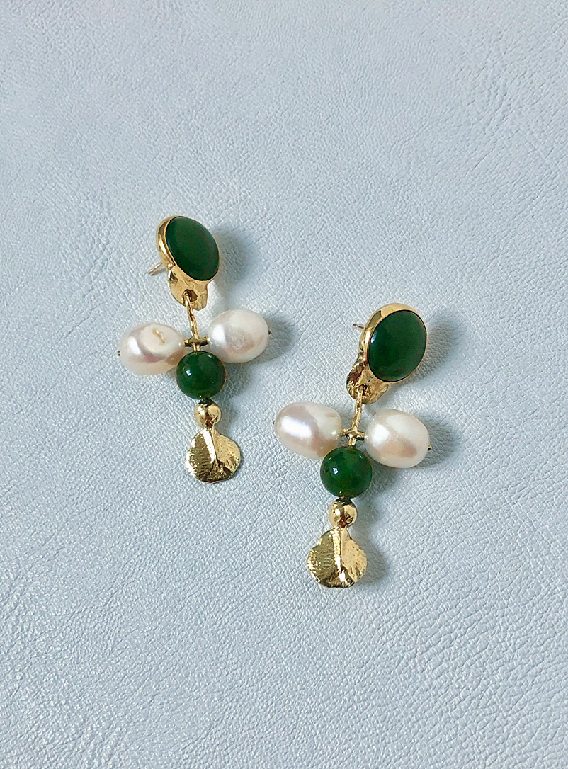 ORA-C Green Open Arms earrings for women