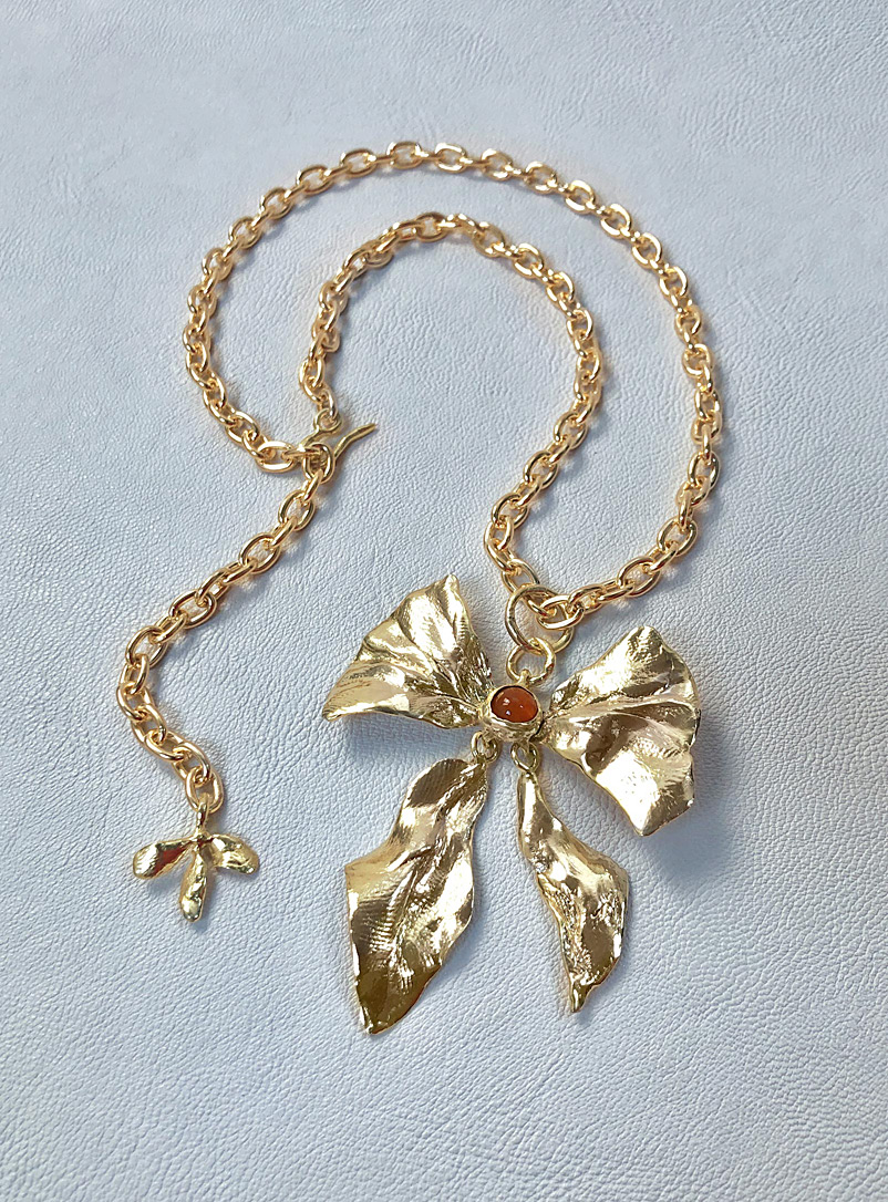 ORA-C Golden Yellow Brass Reign Bow necklace for women
