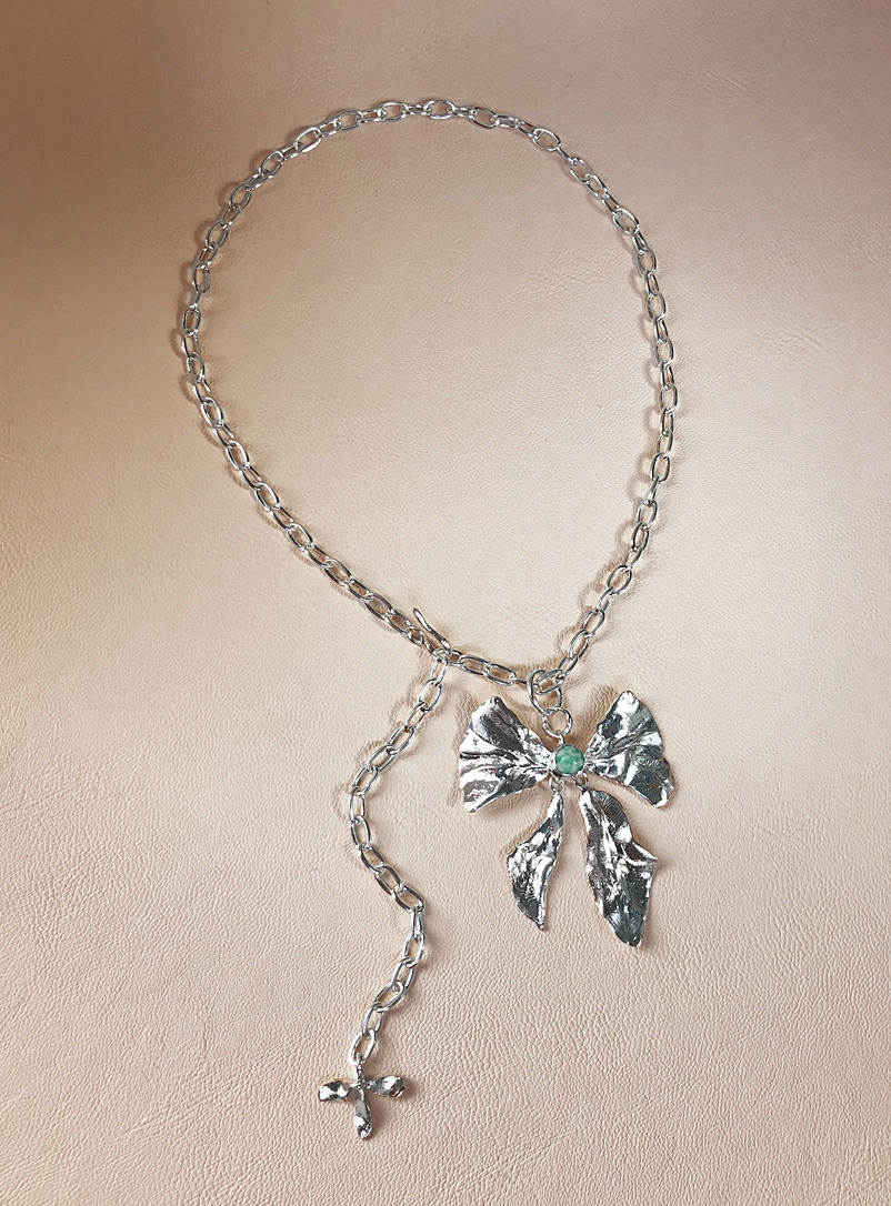 ORA-C Silver Silver Reign Bow necklace for women