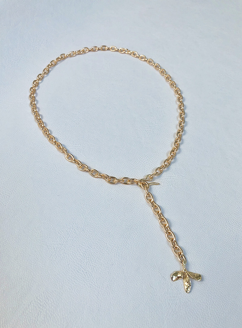 ORA-C Golden Yellow Brass Trifoli chain for women
