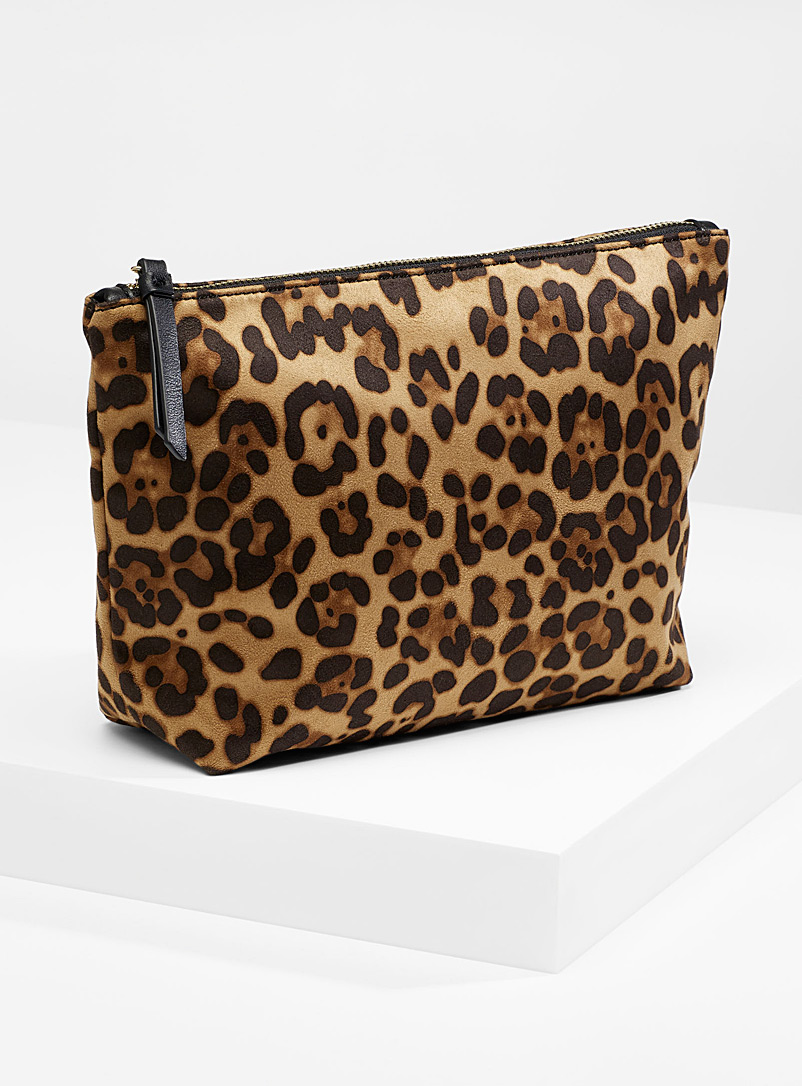 Large printed travel case - Travel makeup bags - Patterned Brown