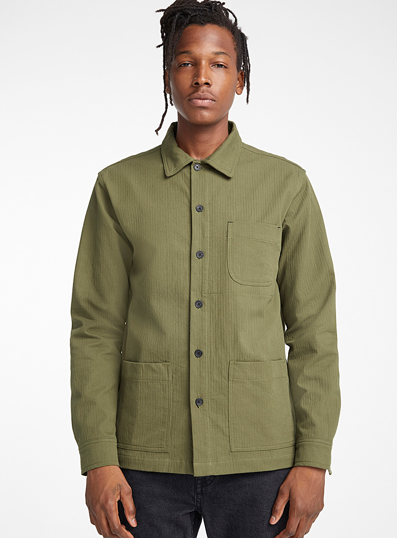 Topstitched military shirt  Semi-tailored fit - Solid - Green