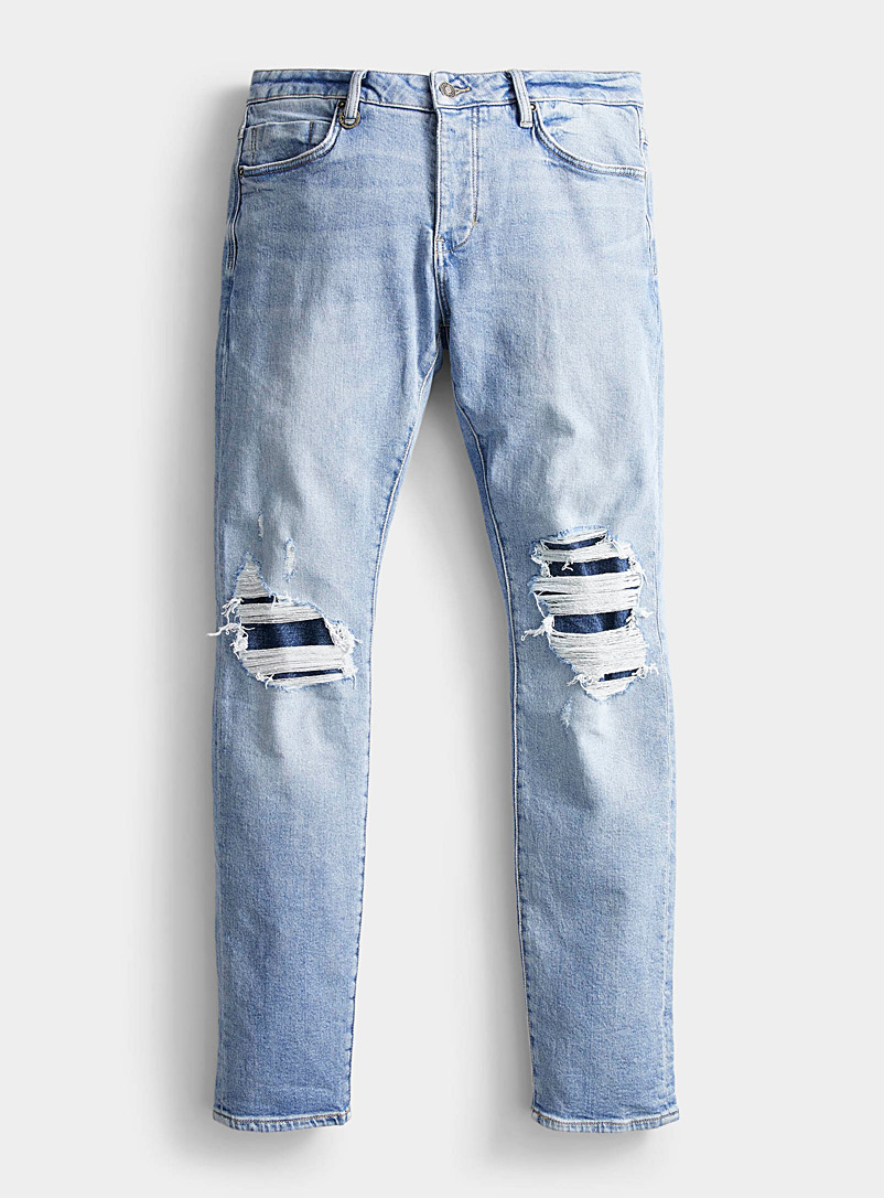 NEUW DENIM Baby Blue Iggy patchwork jean  Skinny fit for men