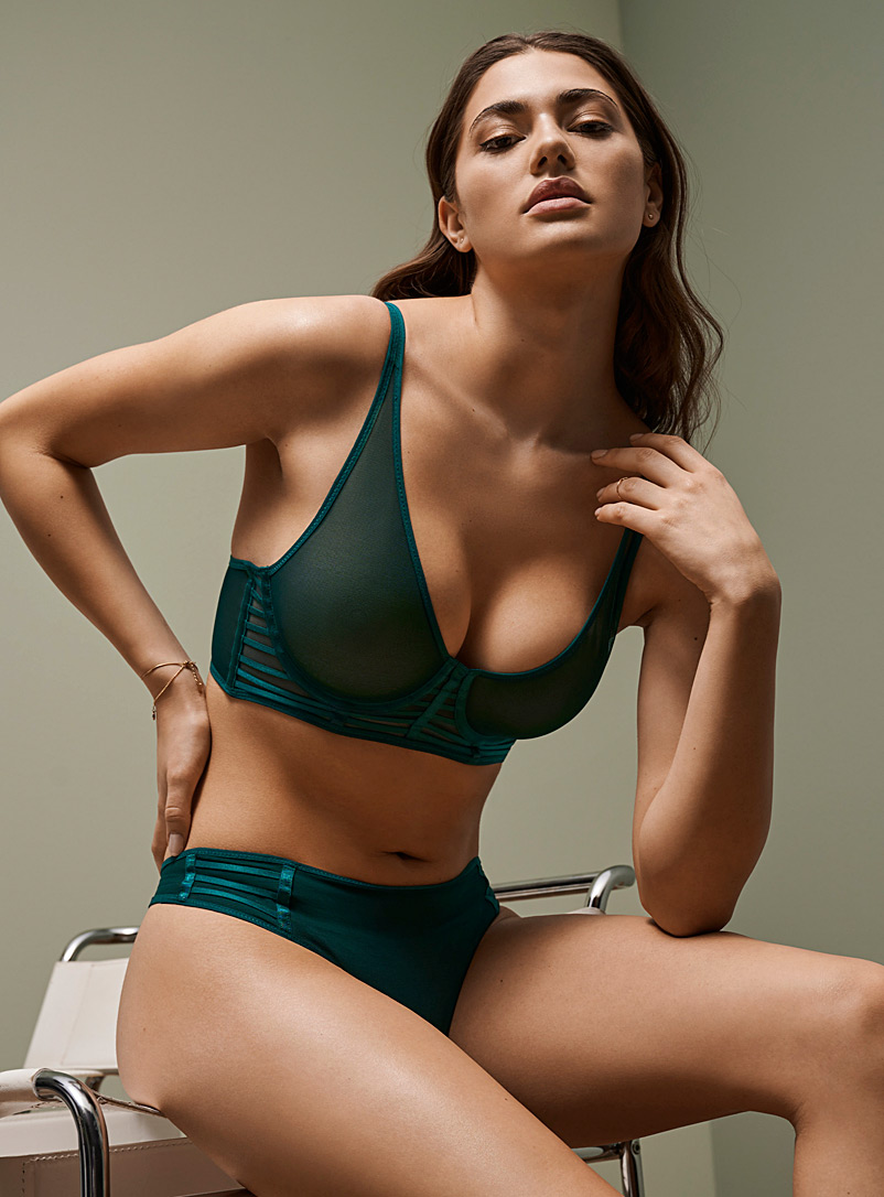 Miiyu Kelly Green Satiny-strap full-coverage bra for women