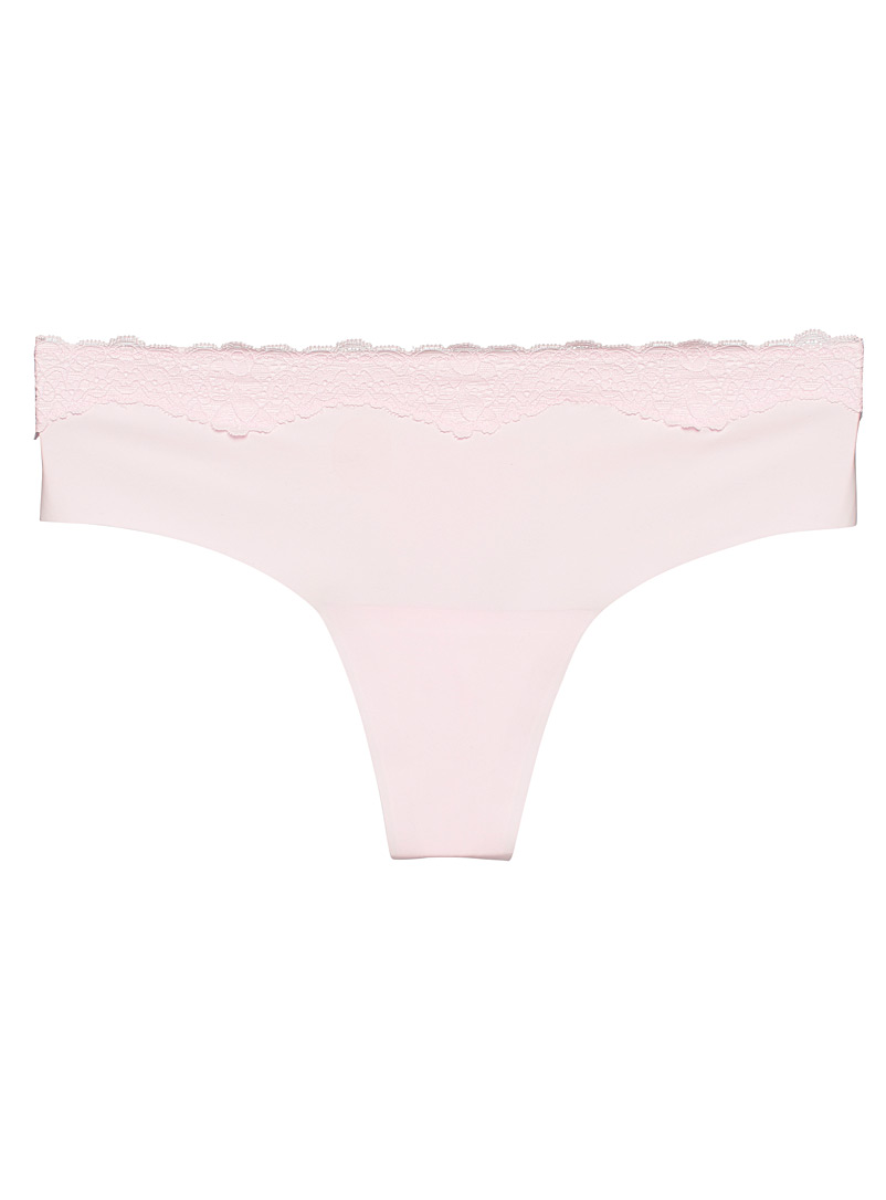 Miiyu Dusky Pink Colourful microfibre and lace thong for women