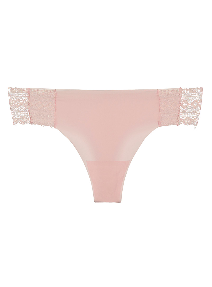 Miiyu Pink Colourful geo lace thong for women