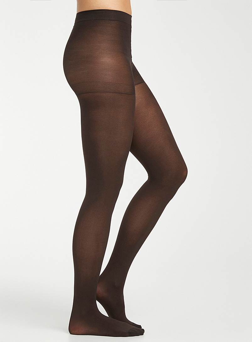 3D microfibre control-top tights - Tights - Brown