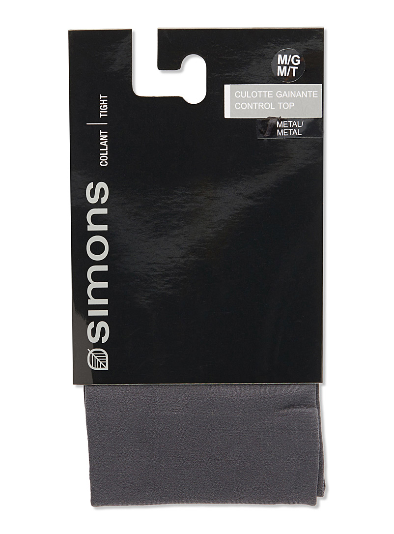 3D microfibre control-top tights - Tights - Charcoal