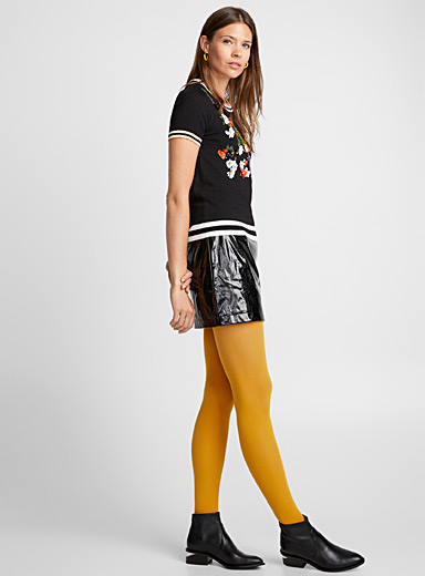 Fall-coloured opaque tights