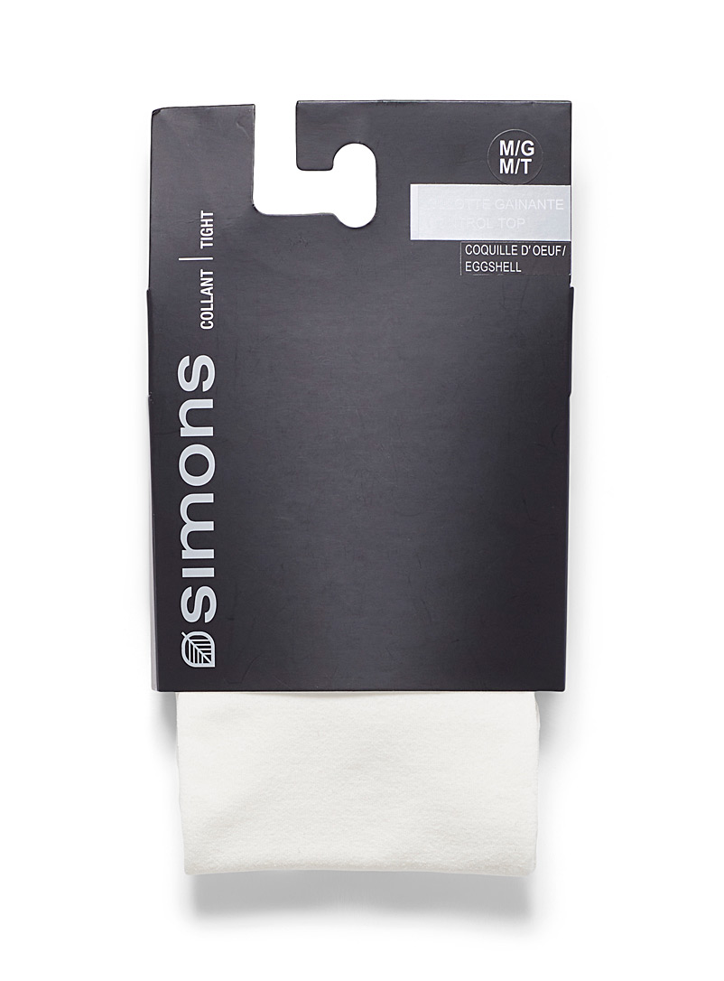 Simons Ivory White Solid 3D microfibre tights for women