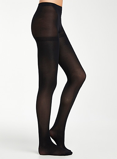 Simons Black 3D microfibre tights for women