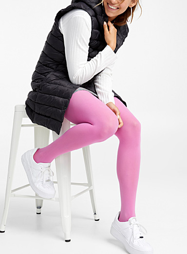 Simons Medium Pink Colourful 3D microfibre tights for women
