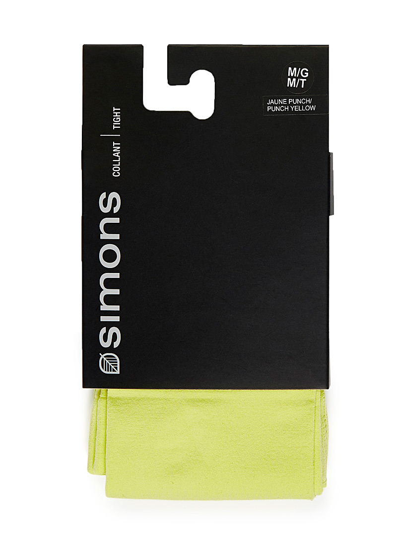 Le collant microfibre 3D coloré - Collants - Jaune vif-canari