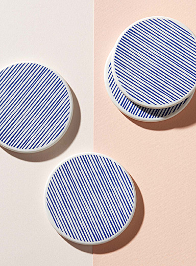 Line porcelain coasters <br>Set of 4