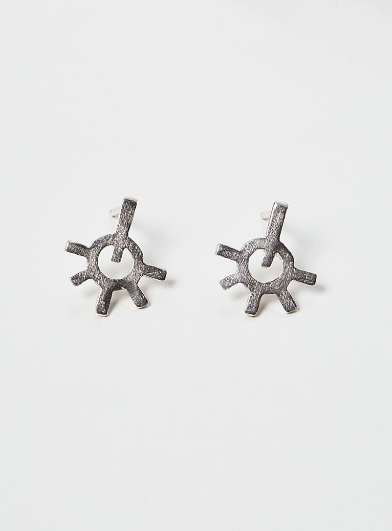 Par ici jewellery Silver Burst Earrings