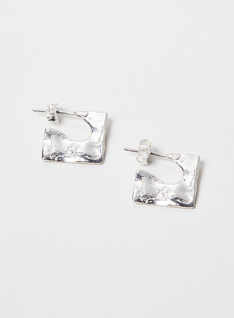 Par ici jewellery Silver Mini square stud earrings