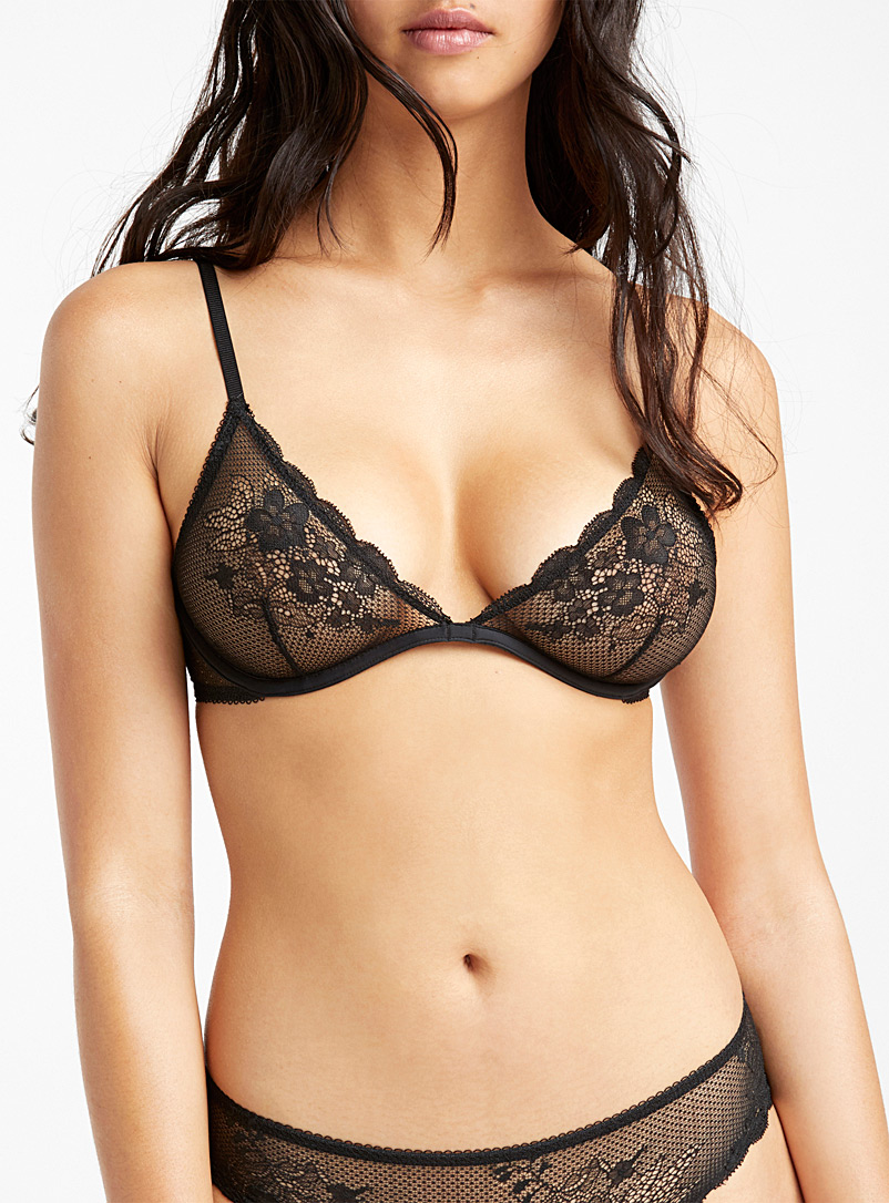 Delicate lace plunging bra - Unlined - Black