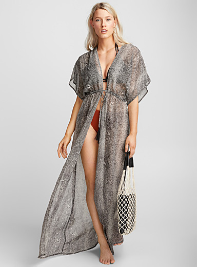 Reptile print caftan dress