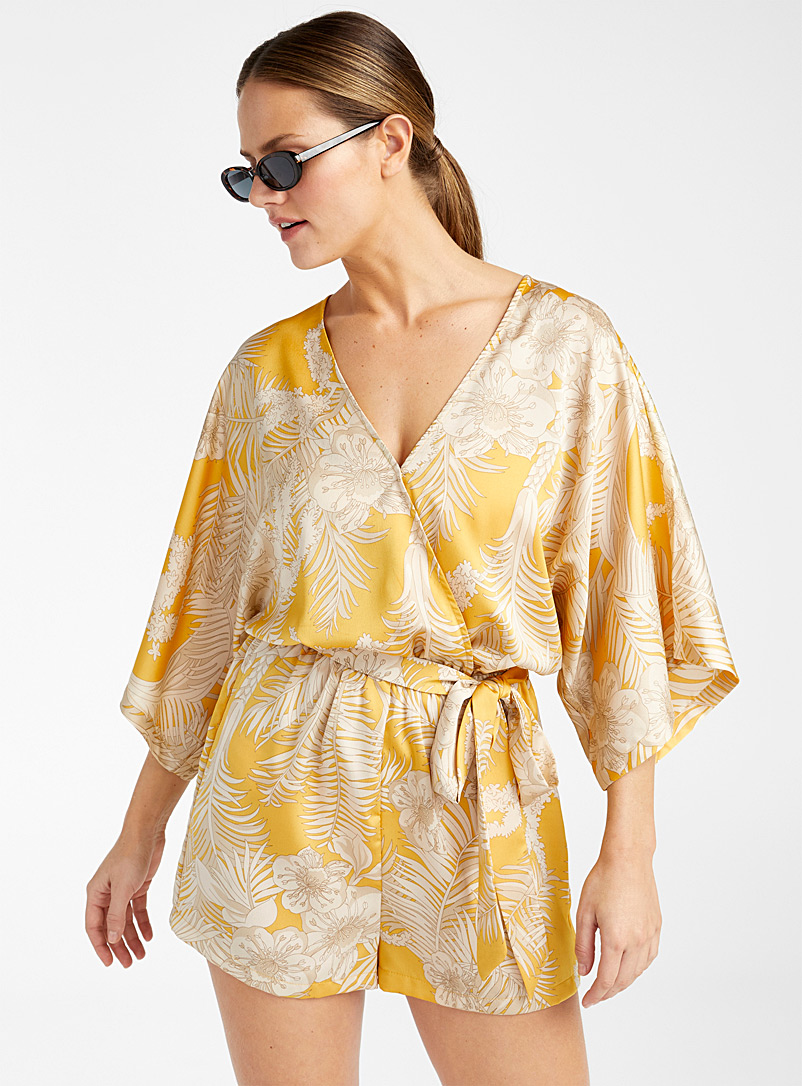 Aakaa Patterned Yellow Exotic silky kimono-like romper for women