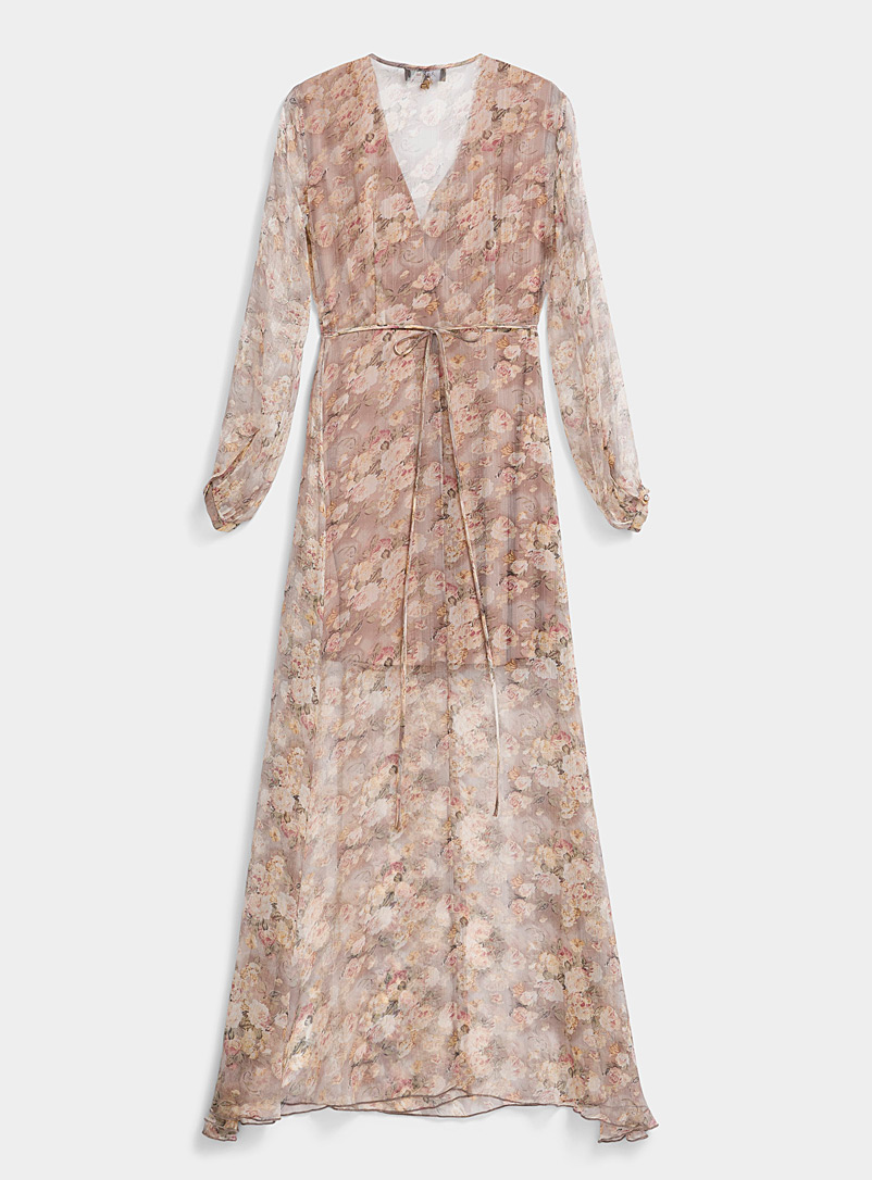 Icône Silver Floral voile wrap dress for women