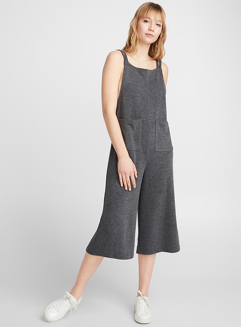 Loose soft knit overalls - Jumpsuits & Rompers - Patterned Grey