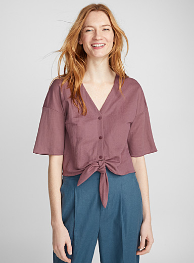 Dusty mauve tie blouse