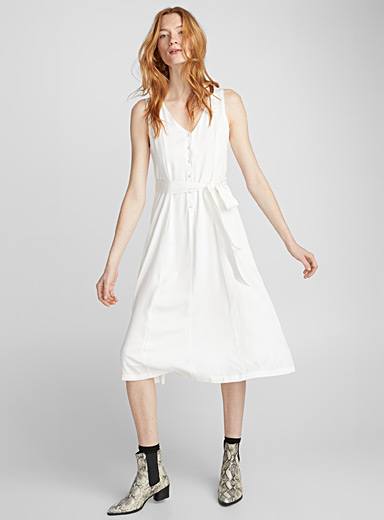 Ribbon-belt fluid twill dress